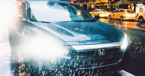 2019 Honda Insight with LED Headlights in the rain