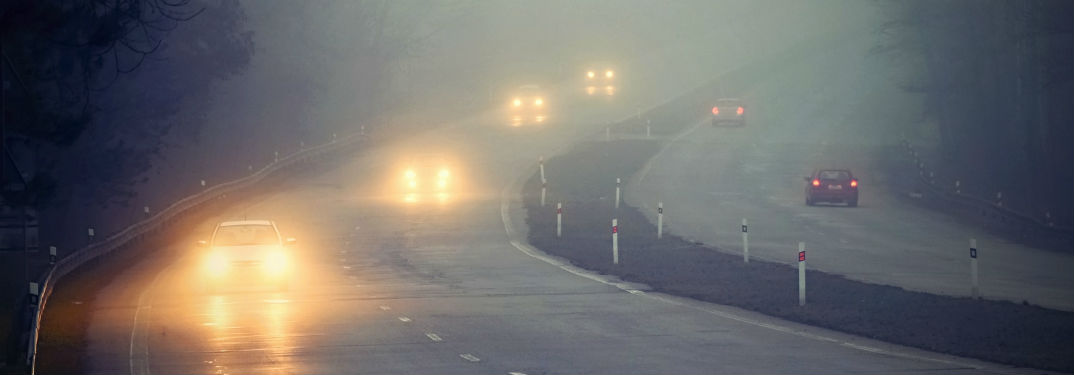 Tips for Driving in Bad Weather with image of cars driving through fog and rain
