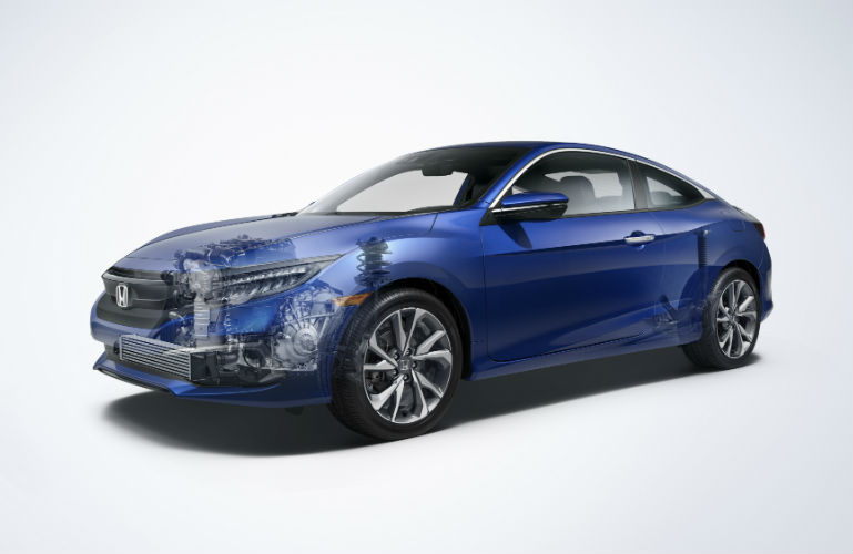 2019 Honda Civic Coupe faded to show engine