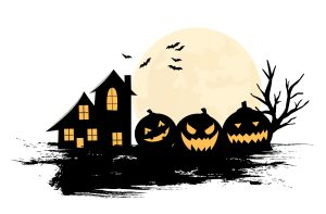 Halloween Party Background with Pumpkins vector illustration