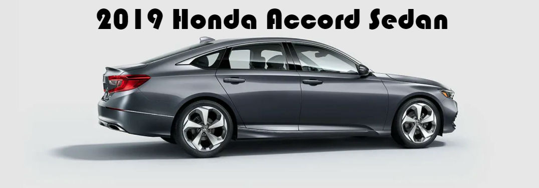 2019 Honda Accord New Features with a profile image of a 2019 Honda Accord Sedan on a light gray background