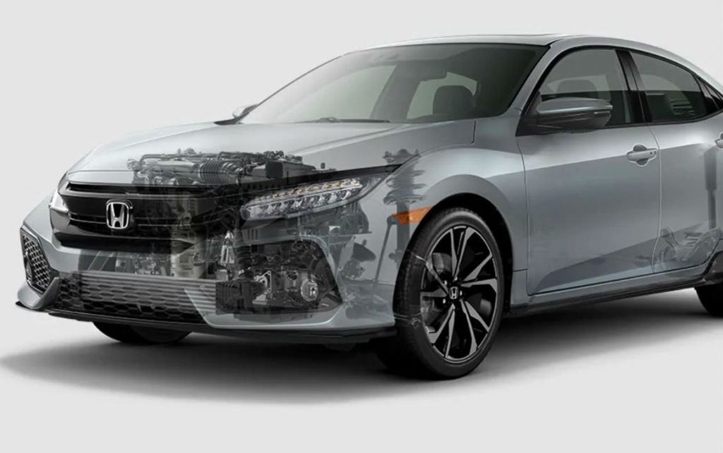 ghosted image of a 2019 Honda Civic Hatchback to show the engine and drivetrain