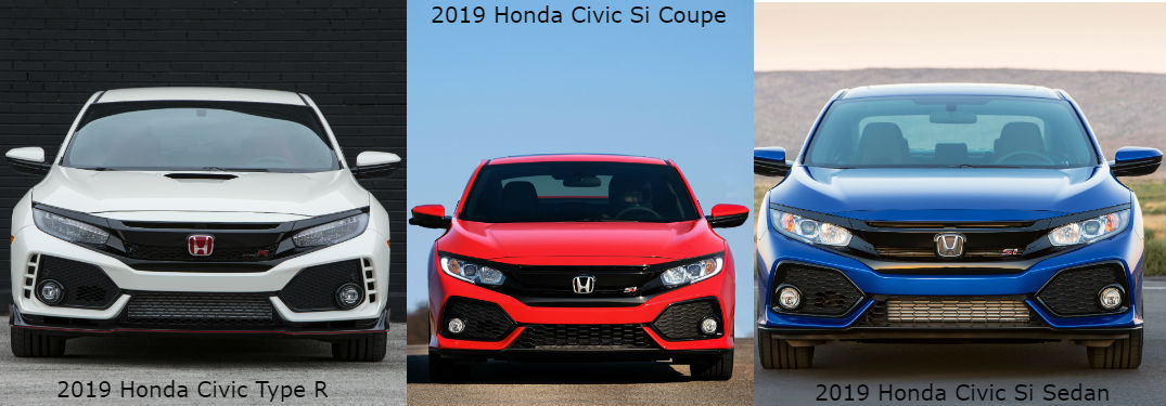 2019 Honda Civic Type R and Si Model Information with an image of a 2019 Honda Civic Type R, Si Coupe and Si Sedan parked showing the front fascia and grille