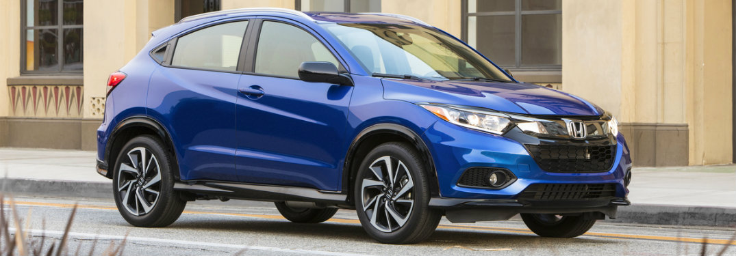 front-side-view-of-blue-2019-Honda-HR-V-Sport-parked-outside-building