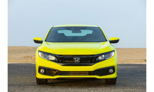 2020 Honda Civic Coupe exterior front shot with Tonic Yellow Pearl paint color