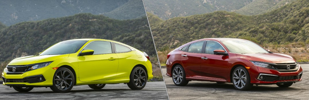 2020 Honda Civic Coupe in tonic yellow pearl and 2020 Honda Civic Sedan in molten lava pearl