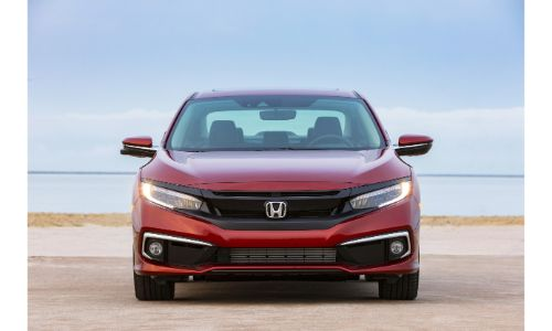 2020 Honda Civic Sedan exterior front shot with Molten Lava Pearl paint color