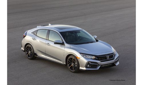 2020 Honda Civic Hatchback exterior overhead shot with gray silver paint color