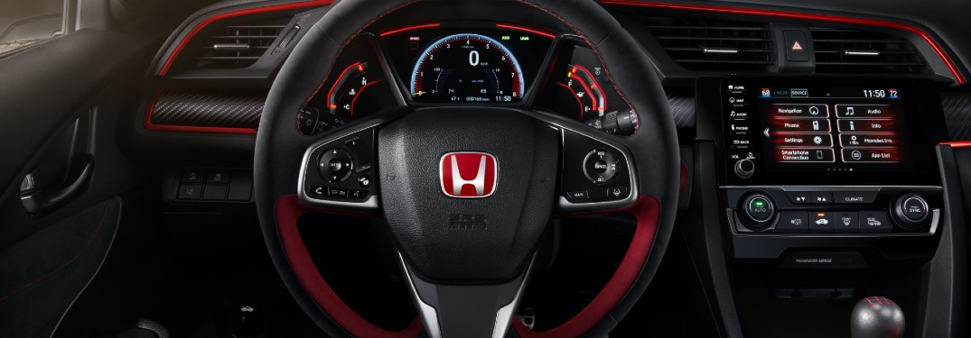 2020 Honda Civic Type R interior shot with LogR datalogging smartphone performance app on infotainment screen