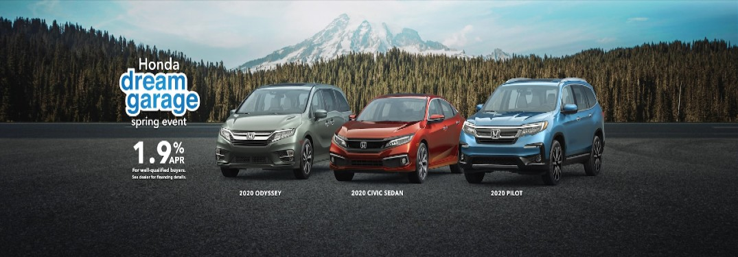 Honda Dream Garage Spring Sales Event banner features the 2020 model years of the Honda Odyssey, Civic, and Pilot