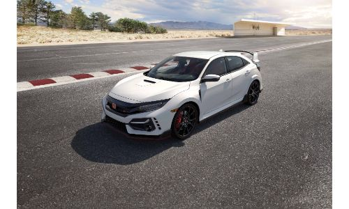 2020 Honda Civic Type R exterior overhead shot with white paint color parked on a racetrack