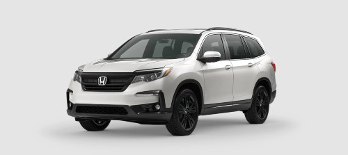 2021 Honda Pilot Special Edition SE trim level exterior front shot with Platinum White Pearl paint color