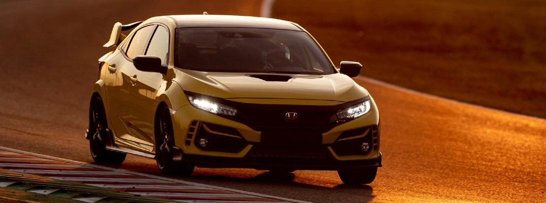 2021 Honda Civic Type R Limited Edition with yellow paint color performing at Honda Formula 1 Suzuka Circuit race track