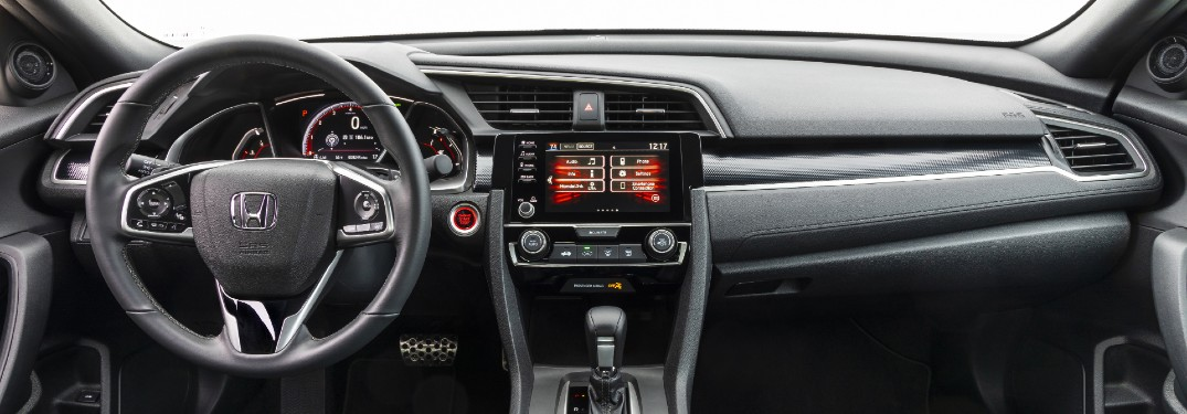 2020 Honda Civic Coupe Sport interior shot of steering wheel, transmission, and dashboard layout