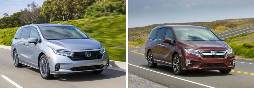 2021 Honda Odyssey in Lunar Silver Metallic and 2020 Honda Odyssey in Deep Scarlet Pearl
