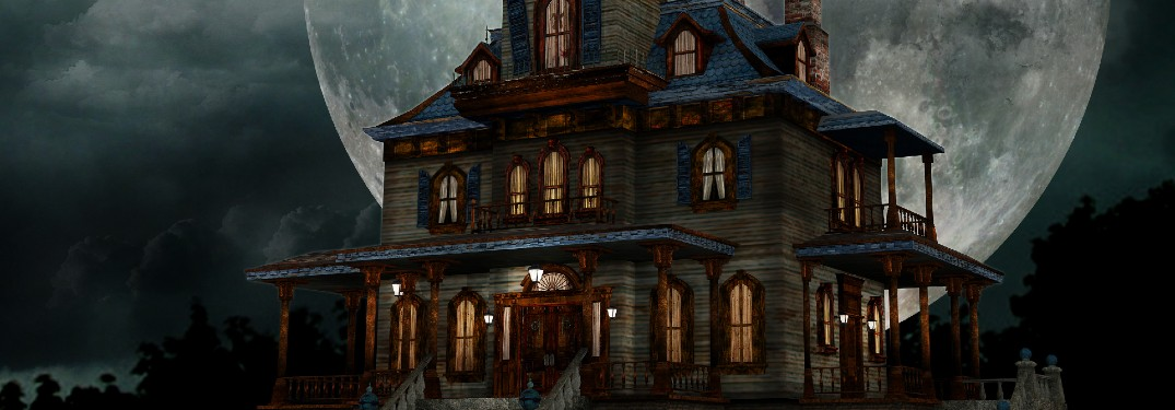 an old, broken down, and decrepit manor haunted house framed by a giant, bright, white full moon for the Halloween season