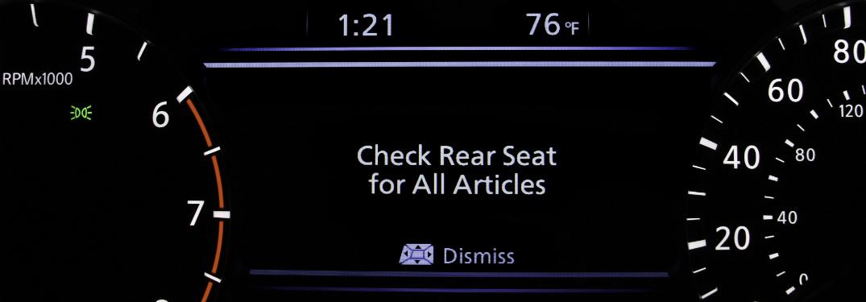 Nissan Rear Seat Alert display