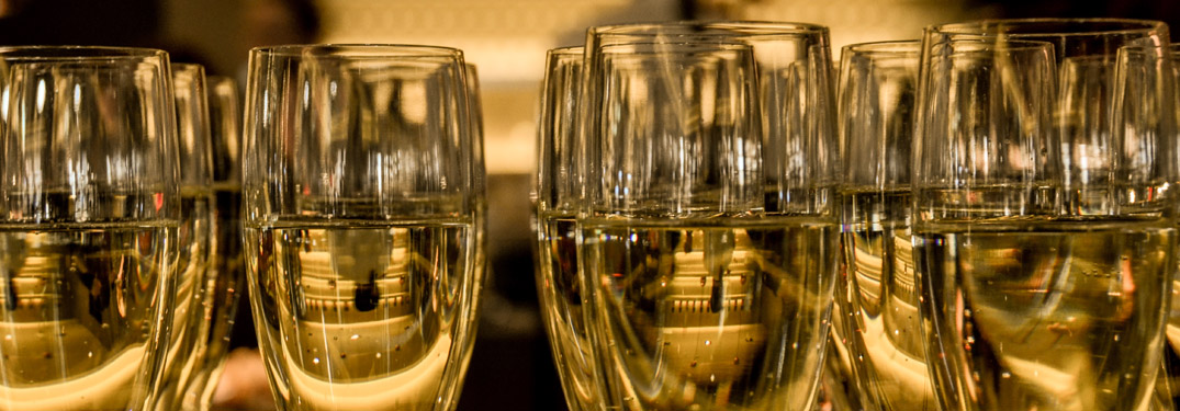 white wine glasses close up