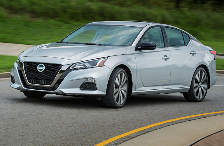 silver 2019 nissan altima on the road
