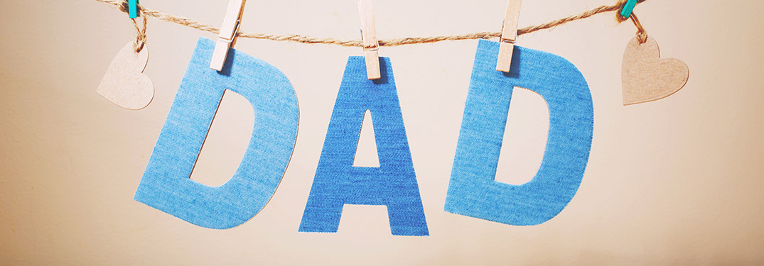 blue paper text that says dad