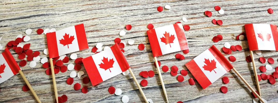 canadian flags on a table