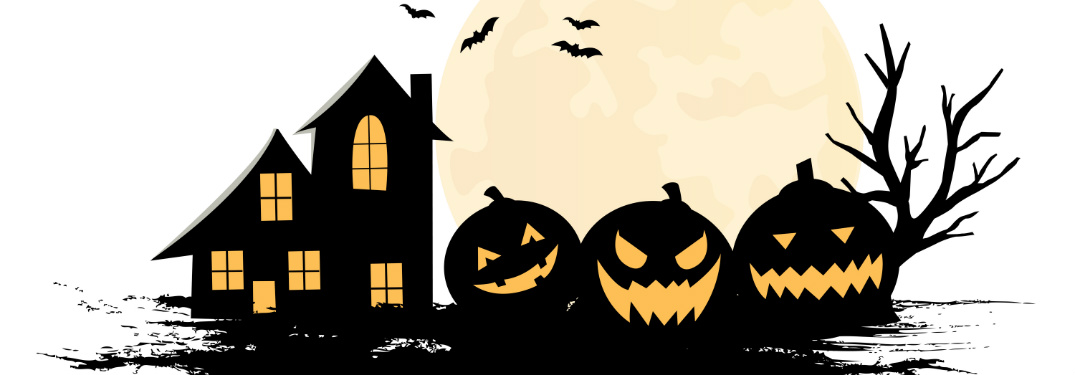 A drawing of a spooky house, bats and a row of pumpkins