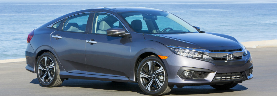 2018 Honda Civic sedan parked on a shore