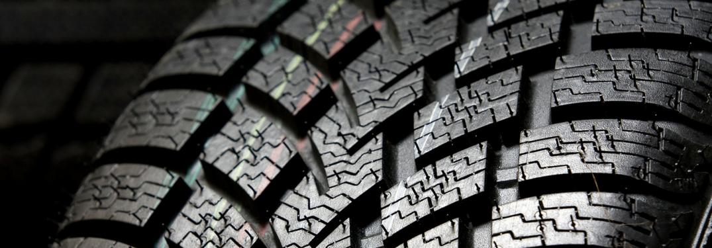 Closeup of tire treads