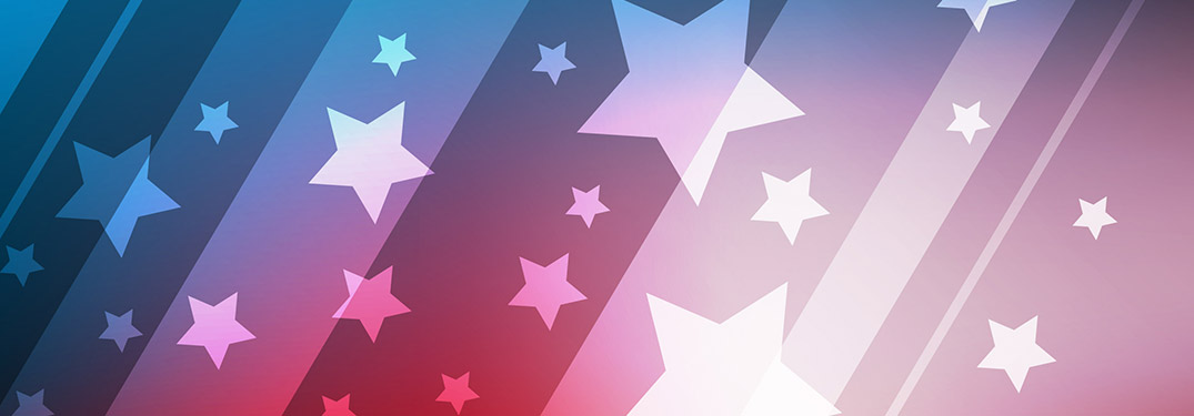 Stylized illustration of United States flag with stars and stripes