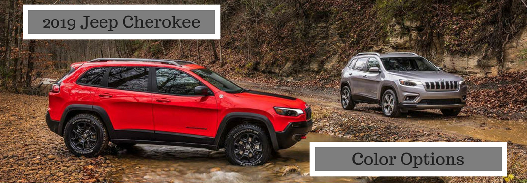 2019 Jeep Cherokee Color Options, text on an exterior image of two 2019 Jeep Cherokee's