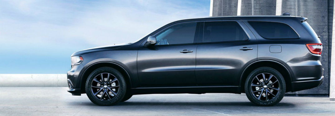Driver side exterior view of a gray 2018 Dodge Durango
