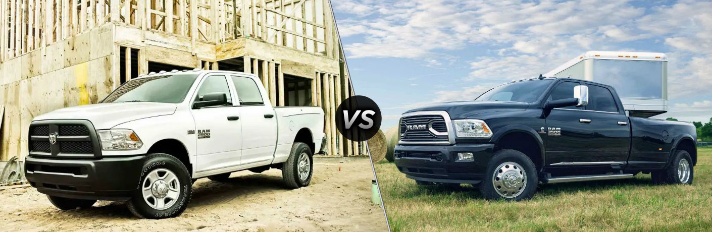"Driver side exterior view of a white 2018 Ram 2500 on the left ""vs"" driver side exterior view of a black 2018 Ram 3500 on the right"