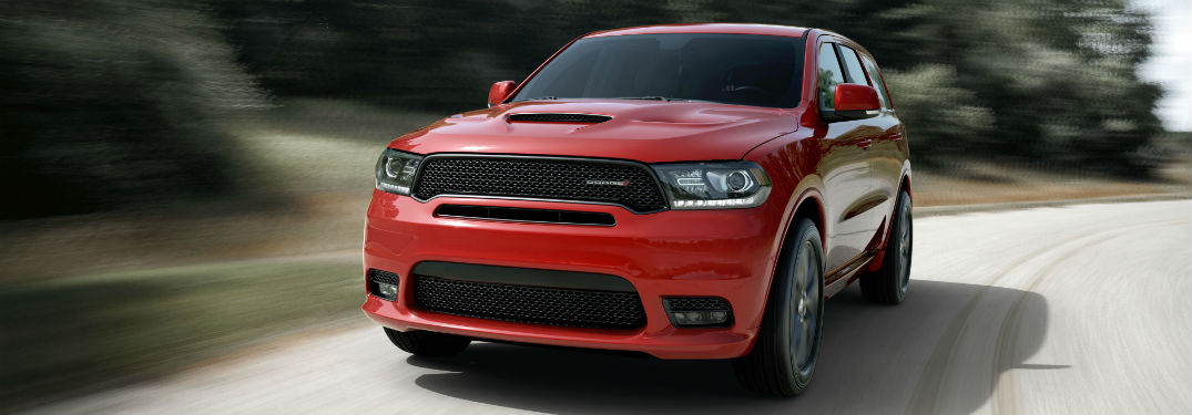 Front exterior view of a red 2019 Dodge Durango
