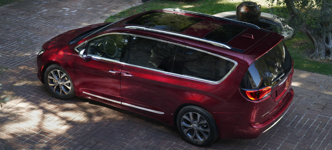 Overhead view of red 2019 Chrysler Pacifica
