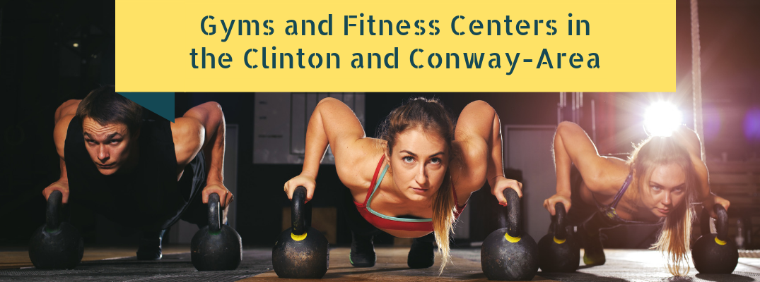 Gyms and Fitness Centers in the Clinton and Conway-Area title and three people exercising