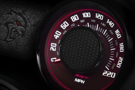 Close up of the speedometer and Hellcat logo in the 2020 Dodge Challenger SRT