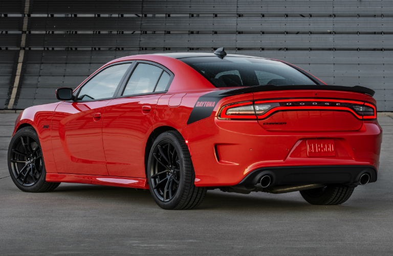 Rear view of red and black 2020 Dodge Charger
