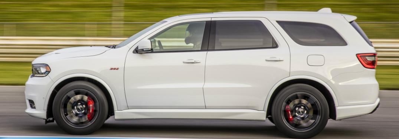 Side view of white 2019 Dodge Durango SRT