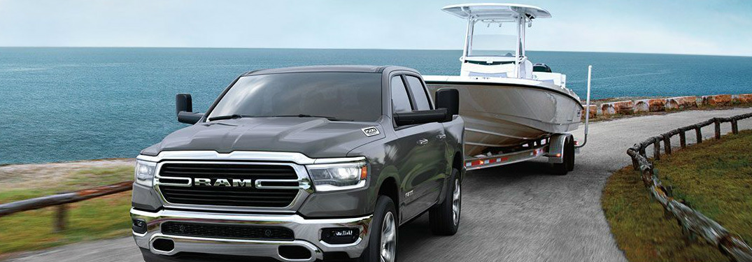 2020 Ram 1500 towing a small boat