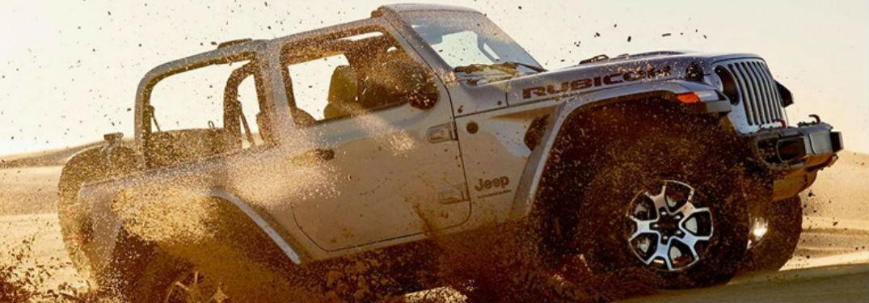2020 Jeep Wrangler in white on dune