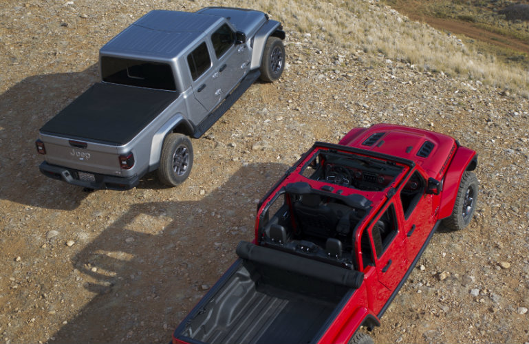 Two 2020 Jeep Gladiator models overhead view