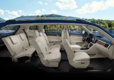 2019 VW Atlas interior side view of all 3 rows