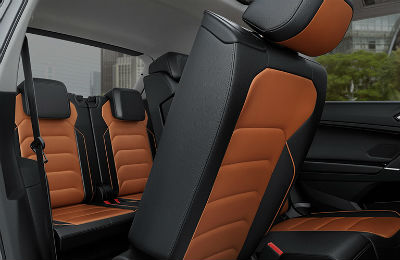2019 VW Tiguan interior middle row seat moved forward and looking into back row