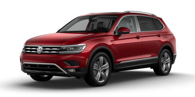 Cardinal Red Metallic 2019 VW Tiguan exterior front fascia and drivers side on blank background