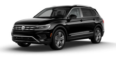 Deep Black Pearl 2019 VW Tiguan exterior front fascia and drivers side on blank background