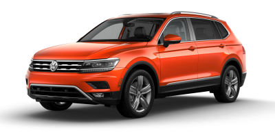 Habanero Orange Metallic 2019 VW Tiguan exterior front fascia and drivers side on blank background