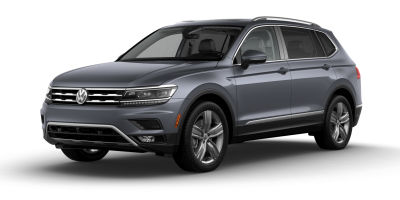 Platinum Gray Metallic 2019 VW Tiguan exterior front fascia and drivers side on blank background