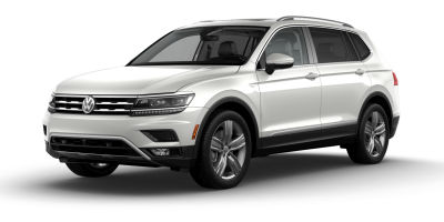 Pure White 2019 VW Tiguan exterior front- and drivers side on blank background