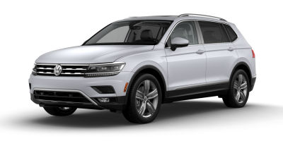White Silver Metallic 2019 VW Tiguan exterior front fascia and drivers side on blank background