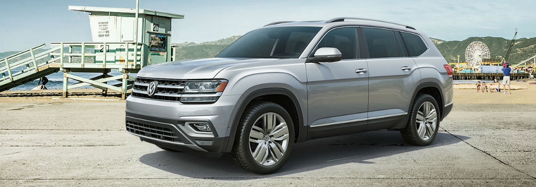 2019 VW Atlas exterior front fascia and driver side in empty lot by beach